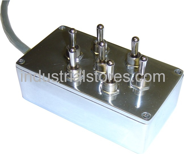 AVS ARC-T7-POL Polished Chrome 7 Switch Box With Carling Switches 4.75