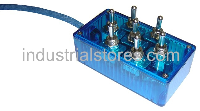 AVS ARC-T7-BU Blue 7 Switch Box with Carling Switches 4.75