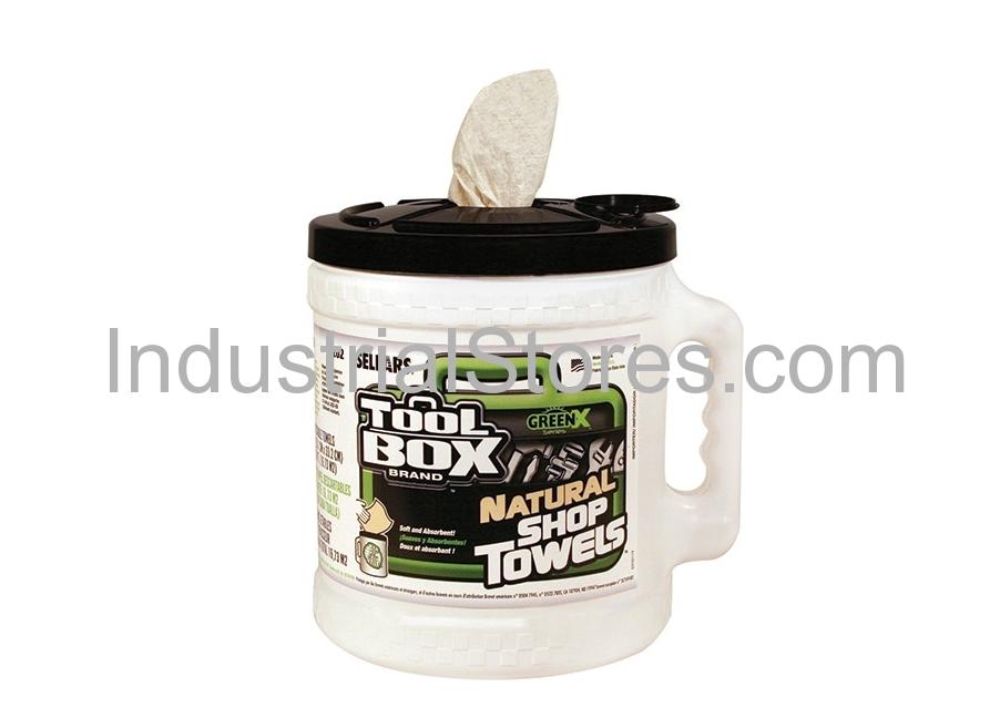 Sellars 54202 TOOLBOX Z400 GREENX Series Big Grip Bucket Natural Rags 200CT (2/Case)